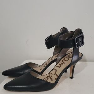 "Sam Edelman Black Leather 3"" Heels Size 8.5"